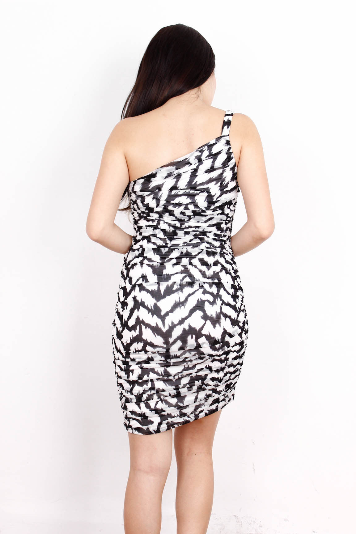[A|X ARMANI EXCHANGE] Wavy Monochrome Dress