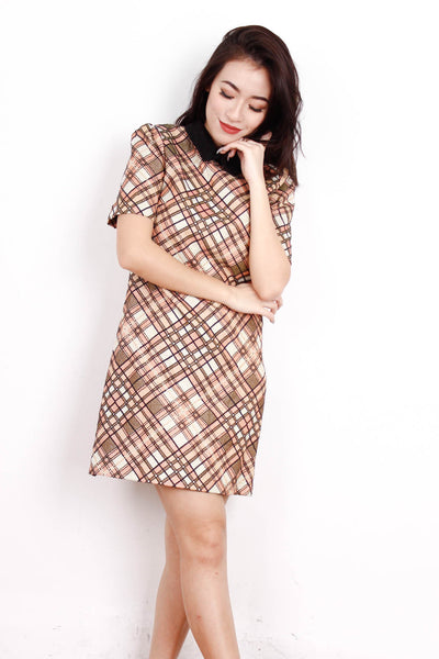[MISS SELFRIDGE] Glittered Collar Checkered Dress