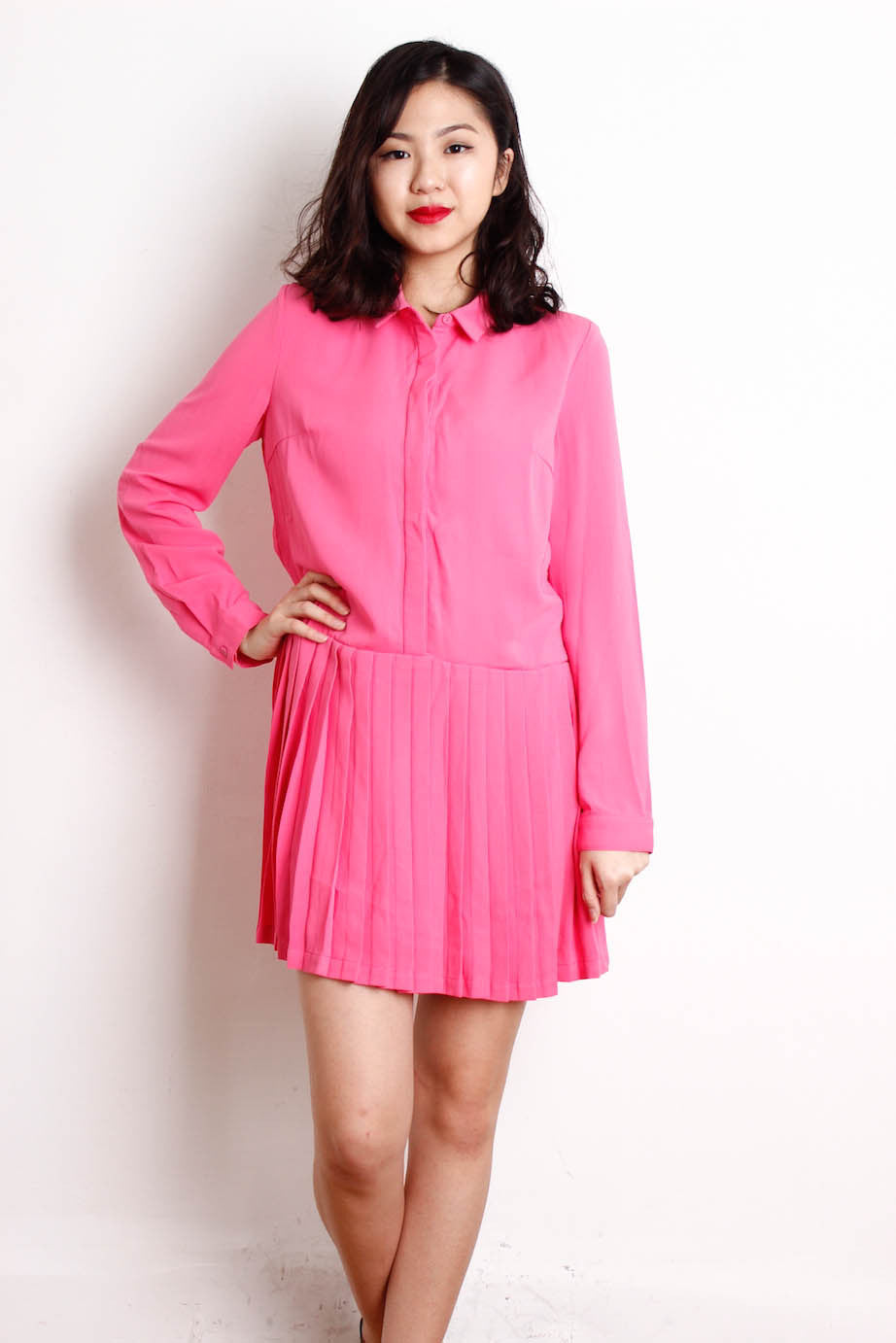 [LOVE BONITO] Pleated Sleeve Dress in Pink