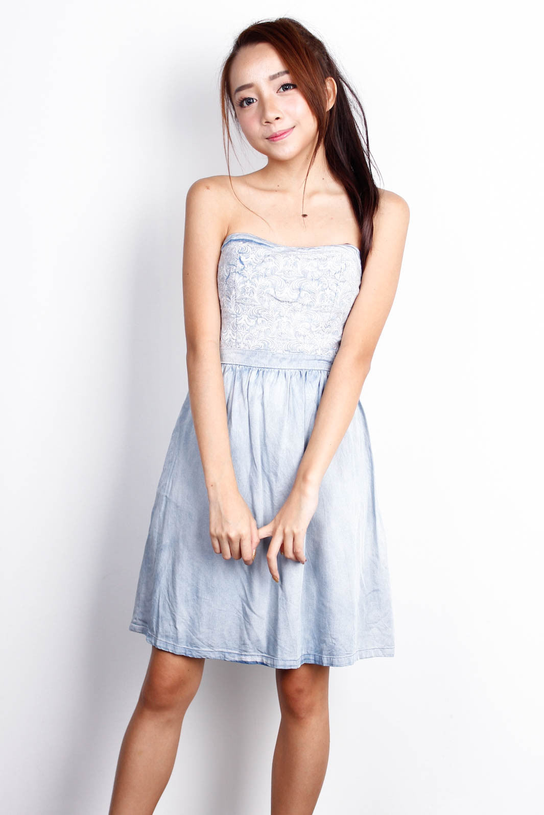[LOVE BONITO] Tube Embroidered Dress
