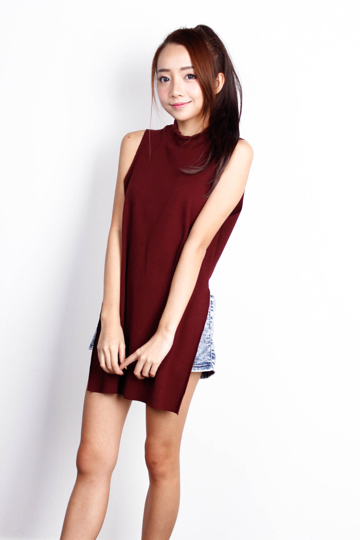 Maroon Crew Neck Ribbed Top