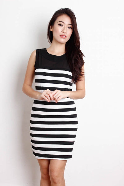 Chiffon Front Stripe Dress