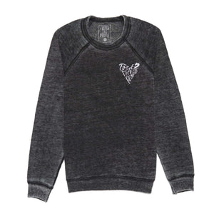 'Heart' Embroidered Acid Wash Crewneck