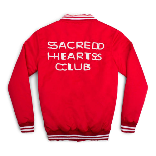 LIMITED EDITION 'Sacred Hearts Club' Letterman Jacket - Red