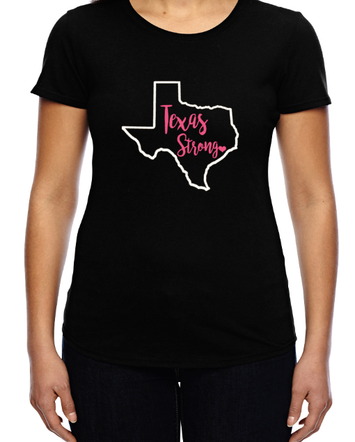 Hurricane Harvey - Pink Large Texas Strong Tee