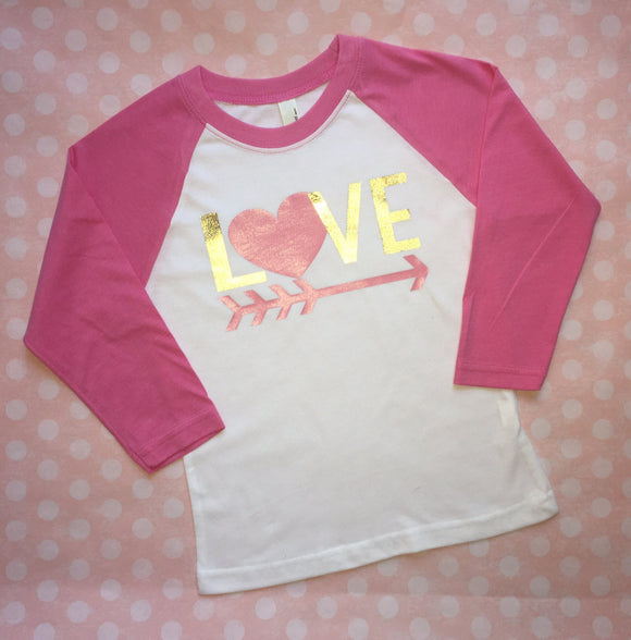 Girls LOVE Valentine Raglan