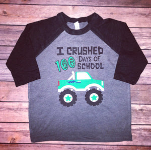 100 days of school shirt, 100th day of school, 100 day of school shirt, elementary shirt, 100 days of school, monster truck shirt, boys tee