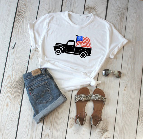 American Flag Truck Shirt, American Shirt, Memorial Day Shirt, 4th Of July Shirt, Labor Day Shirt, USA Shirt, Patriotic Shirt, Vintage Truck
