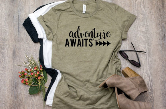 Adventure Awaits - River Shirt - Camping Shirt - Vacation Shirt - Adventure Shirt - Mountain Shirt - Road Trip Shirt - Cute Women's Shirt