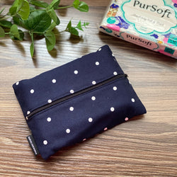 Polka Dots Navy - Dry Travel Sized Tissue Pack Pouch Holder