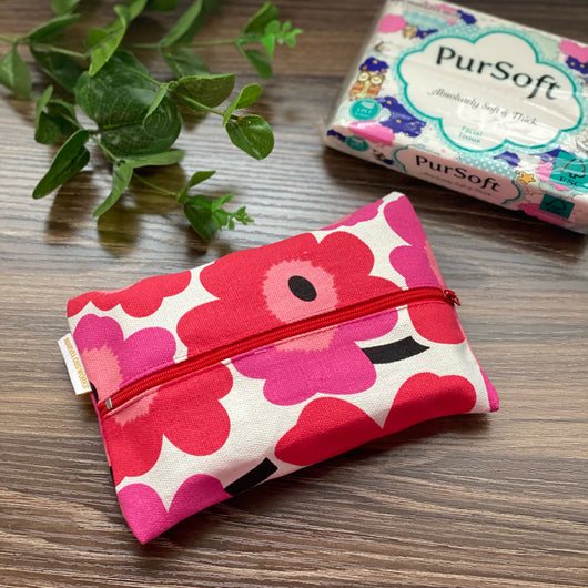 Floral Red - Dry Travel Sized Tissue Pack Pouch Holder