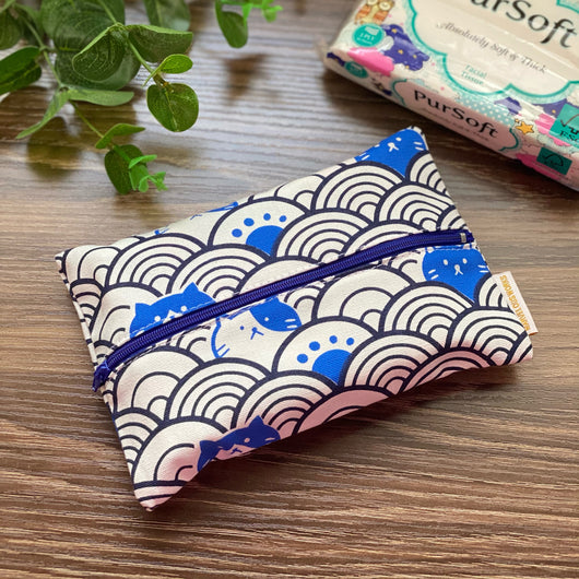 Fortune Cats Blue - Dry Travel Sized Tissue Pack Pouch Holder