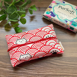 Fortune Cats Red - Dry Travel Sized Tissue Pack Pouch Holder