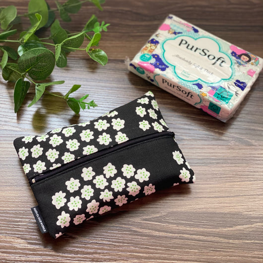 Flower Cluster Black - Dry Travel Sized Tissue Pack Pouch Holder