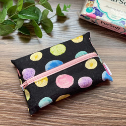 Watercolour Dots Black - Dry Travel Sized Tissue Pack Pouch Holder