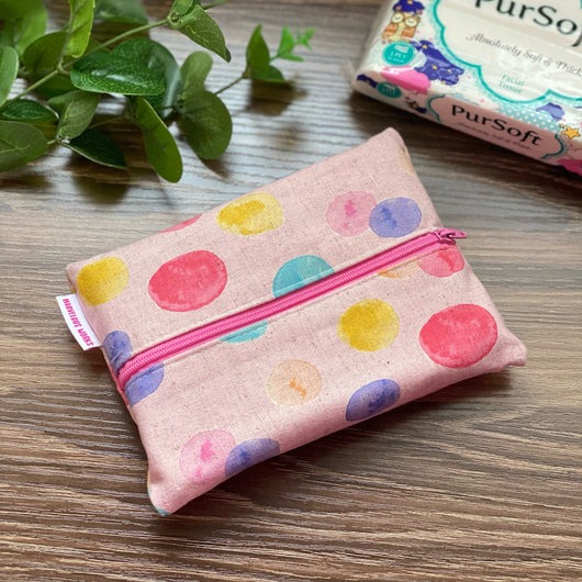 Watercolour Dots Pink - Dry Travel Sized Tissue Pack Pouch Holder