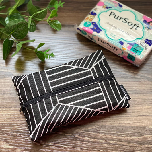 Geometric Lines Black - Dry Travel Sized Tissue Pack Pouch Holder