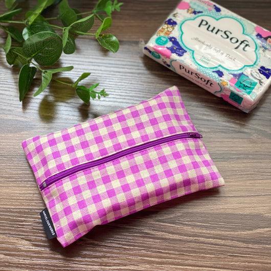 Gingham Purple - Dry Travel Sized Tissue Pack Pouch Holder