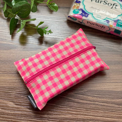 Gingham Pink - Dry Travel Sized Tissue Pack Pouch Holder