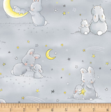 "Baby Minky Blanket ""Bunnies and Moons Grey"""
