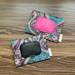 Paisley Black - Wet and Dry Tissue Pouch (SMALL)