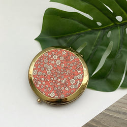 Coral Floral (Gold) - Compact Pocket Mirror