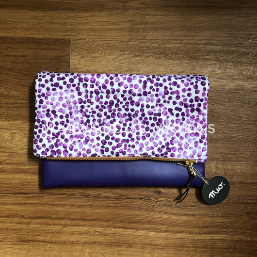 """Watercolour Lilac"" Foldover Clutch"