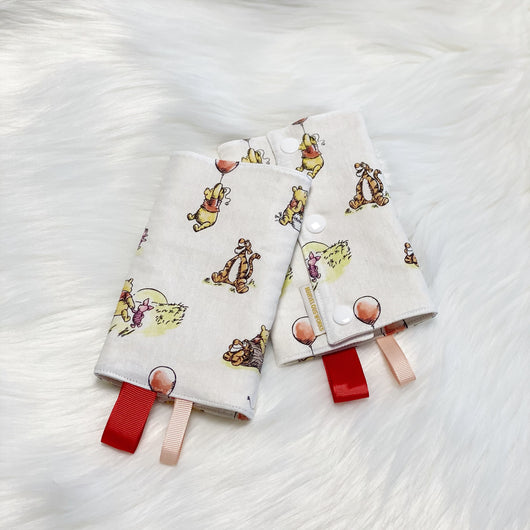 Winnie and Friends White - CUSTOM Reversible Straight Droolpads