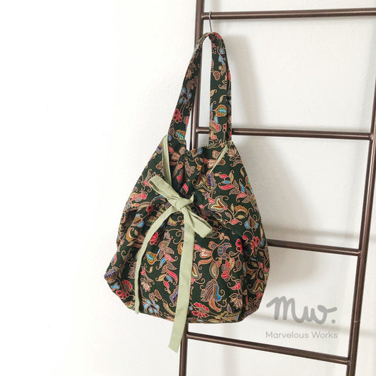 Ribbon Tote Bag - Batik Olive