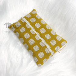 Block Mustard Print - Dry Travel Sized Tissue Pack Pouch Holder