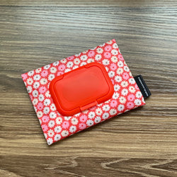Retro Floral Red - Wet and Dry Tissue Pouch (SMALL)
