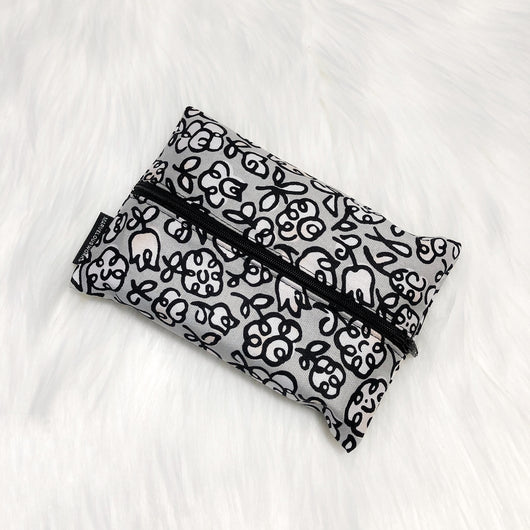 Scribbles Grey - Dry Travel Sized Tissue Pack Pouch Holder
