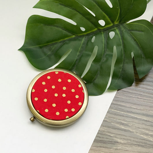 Confetti Gold on Red (Bronze) - Compact Pocket Mirror