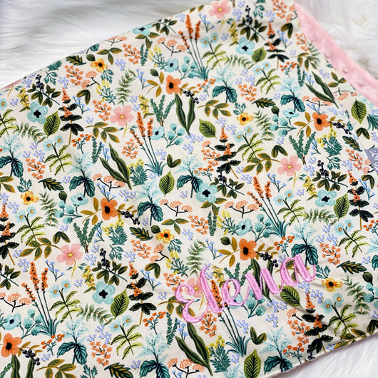 Herb Garden Natural - CUSTOM Baby Minky Blanket