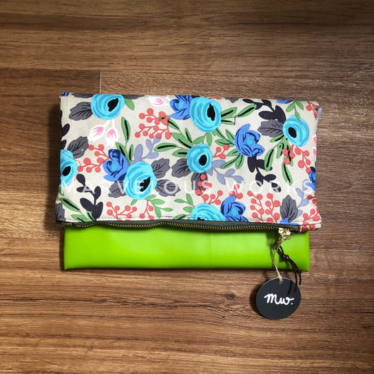 """Rosa Blue"" Foldover Clutch"
