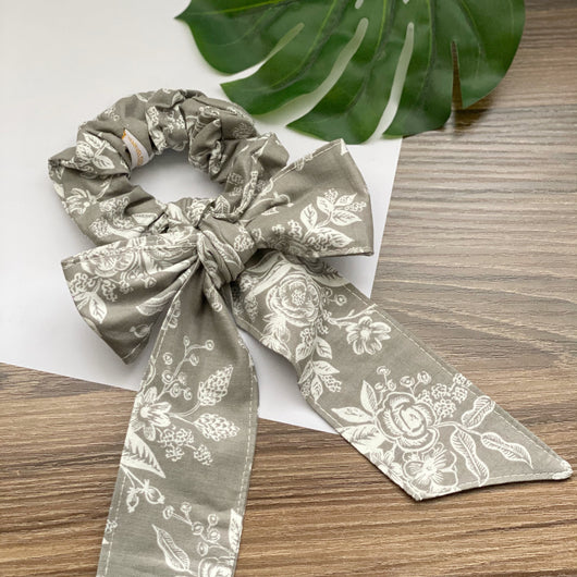 English Garden Toile Grey - Bandana Scarf Scrunchie