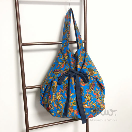 Ribbon Tote Bag - Batik Blue