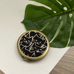 Cat Happy Black (Bronze) - Compact Pocket Mirror