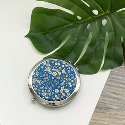 Blue Floral (Silver) - Compact Pocket Mirror