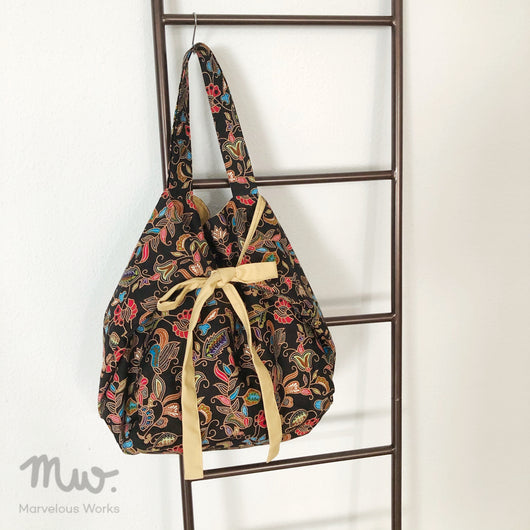 Ribbon Tote Bag - Batik Black