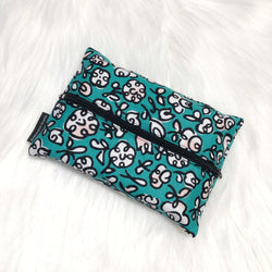 Scribbles Teal - Dry Travel Sized Tissue Pack Pouch Holder