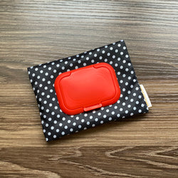 Polka Dot Black - Wet and Dry Tissue Pouch (SMALL)
