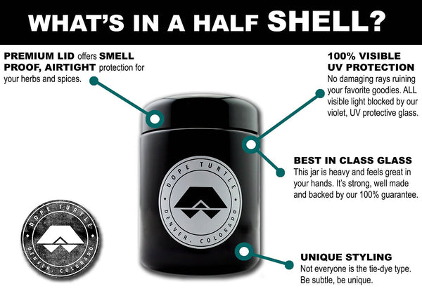 What's a HALF Shell? A smell proof, premium, jar with 100% visible UV protection made out of imported Dutch glass.