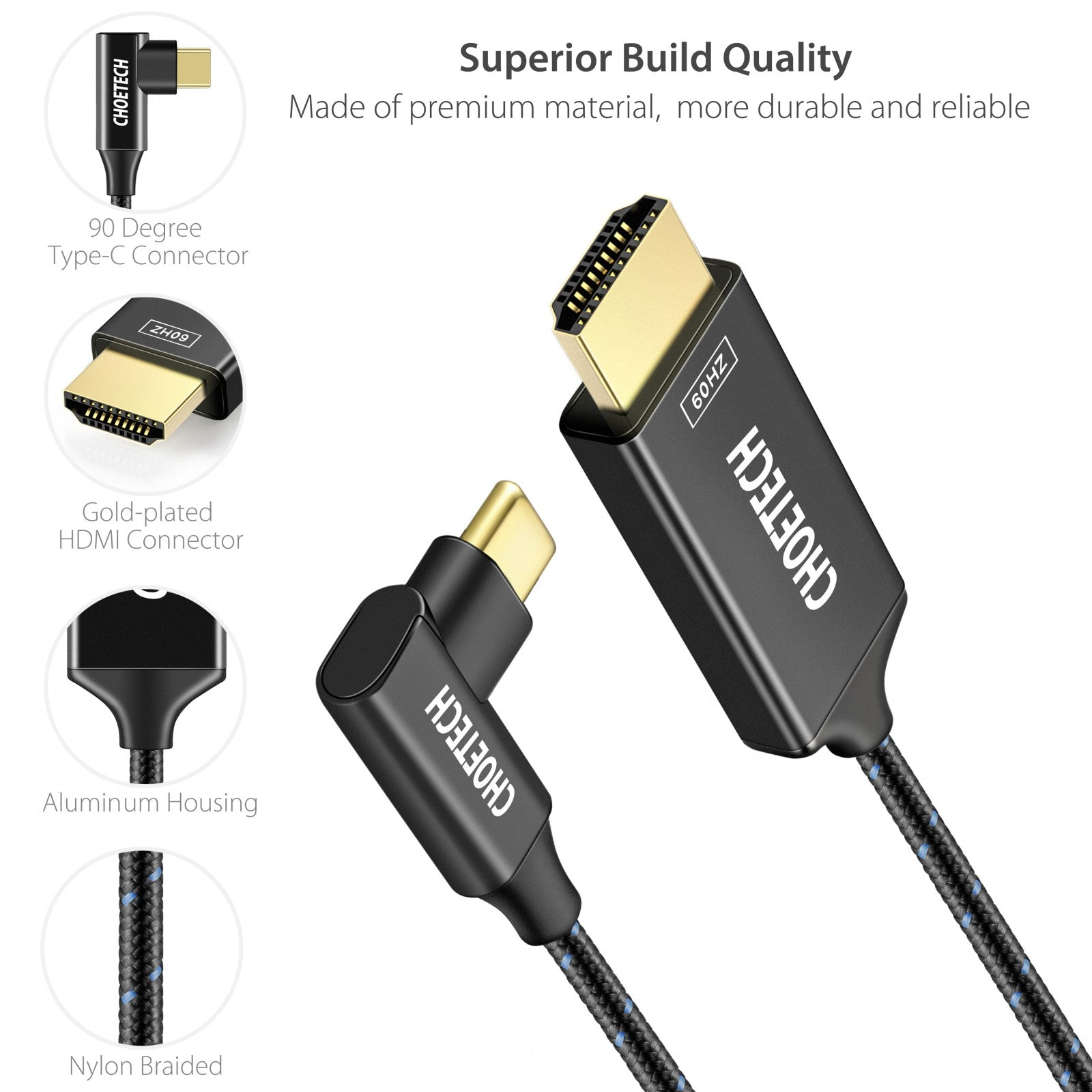 Choetech Leftright Angle 90 Degree Usb Type C To Hdmi Cable Connector Nylon Braided 4k 60hz