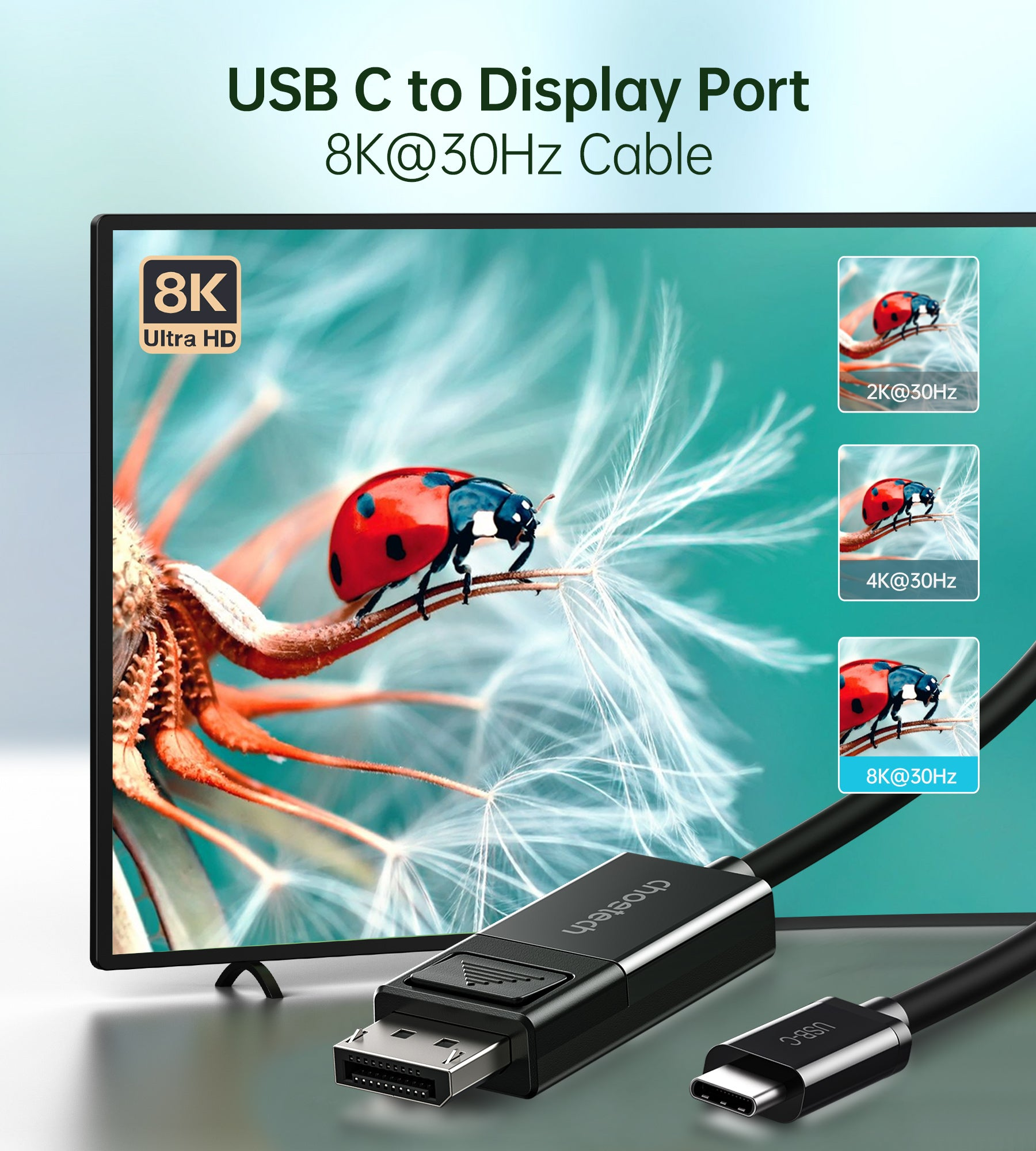 XCP-1803 Choetech USB C to DisplayPort Cable, 8K@30Hz 6ft DisplayPort to USB C Cable, Thunderbolt 3 to DisplayPort Two-Way