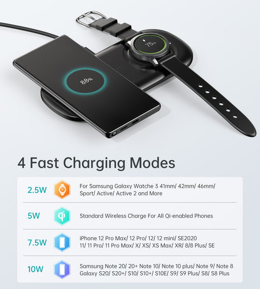 T570 CHOETECH 2 in 1 Wireless Charger, 10W Max Wireless Charging Pad with Adapter for Galaxy Watch CHOETECH