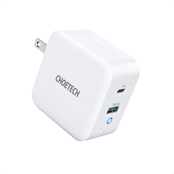PD8002 CHOETECH 65W 2-Port PD Charger GaN Tech USB C Foldable Fast Charging Adapter Compatible with MacBook CHOETECH