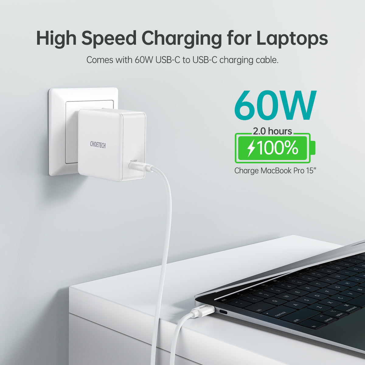 Q4004 Choetech 60W PD 3.0 Type C Fast Charging Foldable Adapter USB C Charger