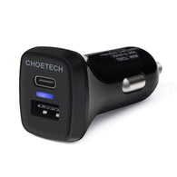 USB C Car Charger, CHOETECH 33W USB Type C Car Charger with Quick Charge 3.0 in Dual USB Car Charger