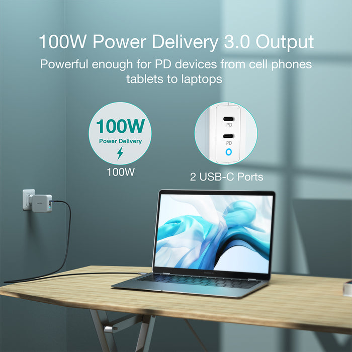 CHOETECH PD 100W GaN Dual USB Type C Charger for MacBook Air iPad iPhone 11 Pro Samsung Huawei ASUS Wall Charger for Lenovo DELL CHOETECH